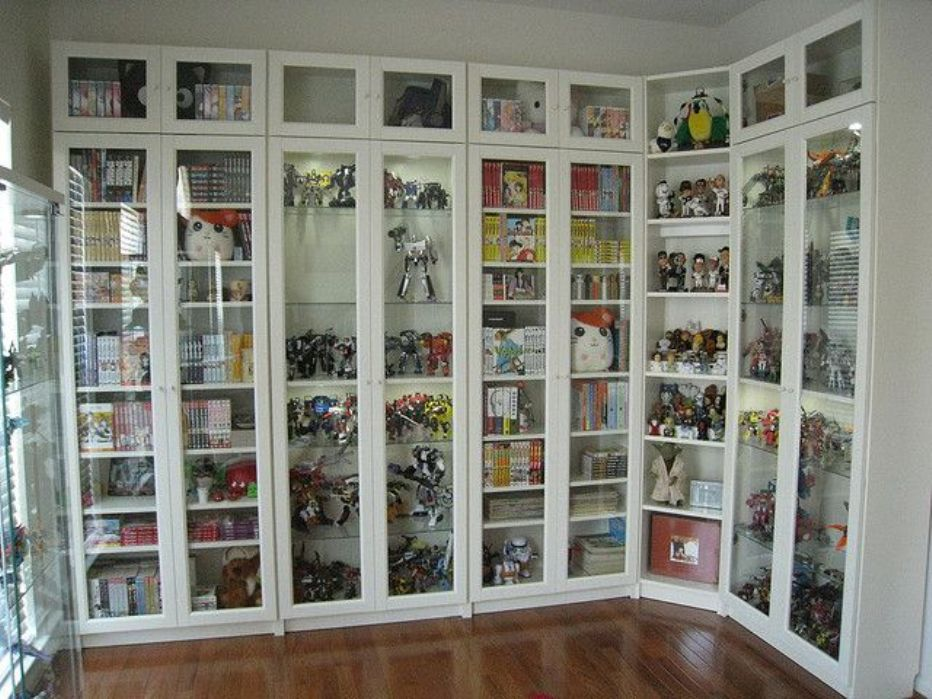 Image of: Bookcase with glass doors plans