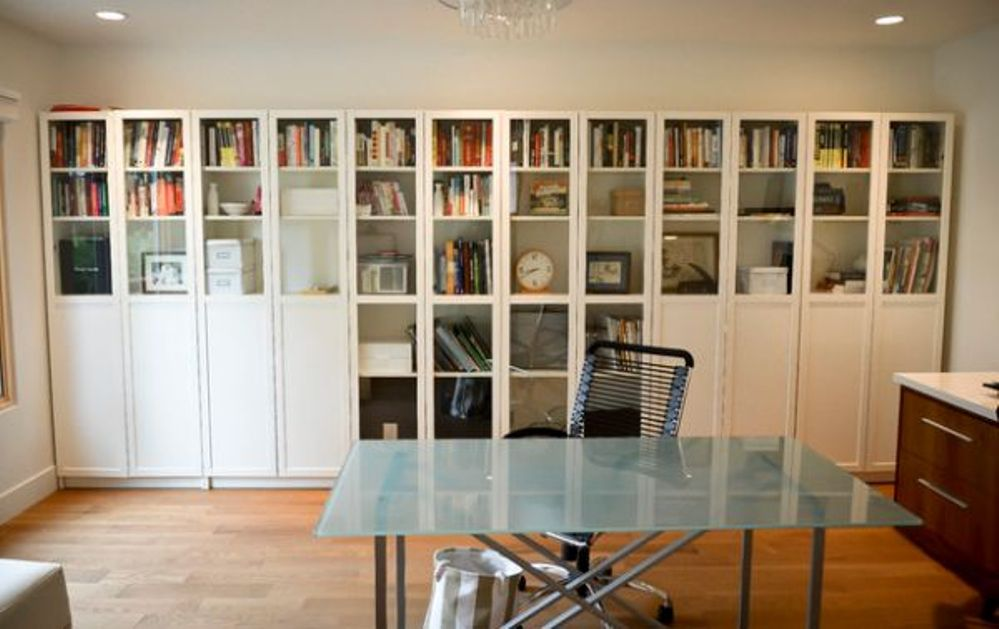 Image of: Bookcase with Glass Doors White Design