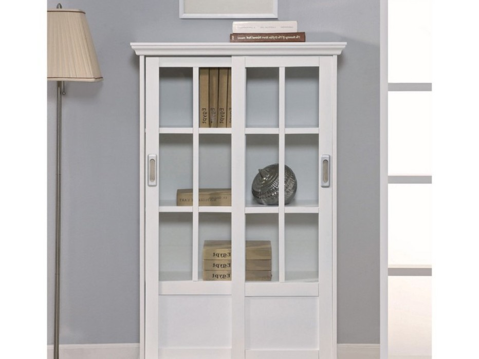 Image of: Bookshelf with glass doors and lock