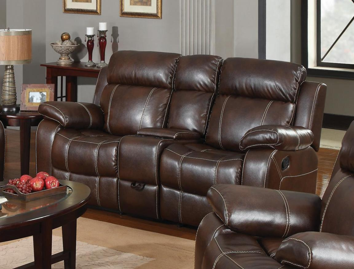 Image of: Brown Leather Loveseat Recliner