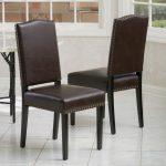 Brown Leather Nailhead Dining Chair