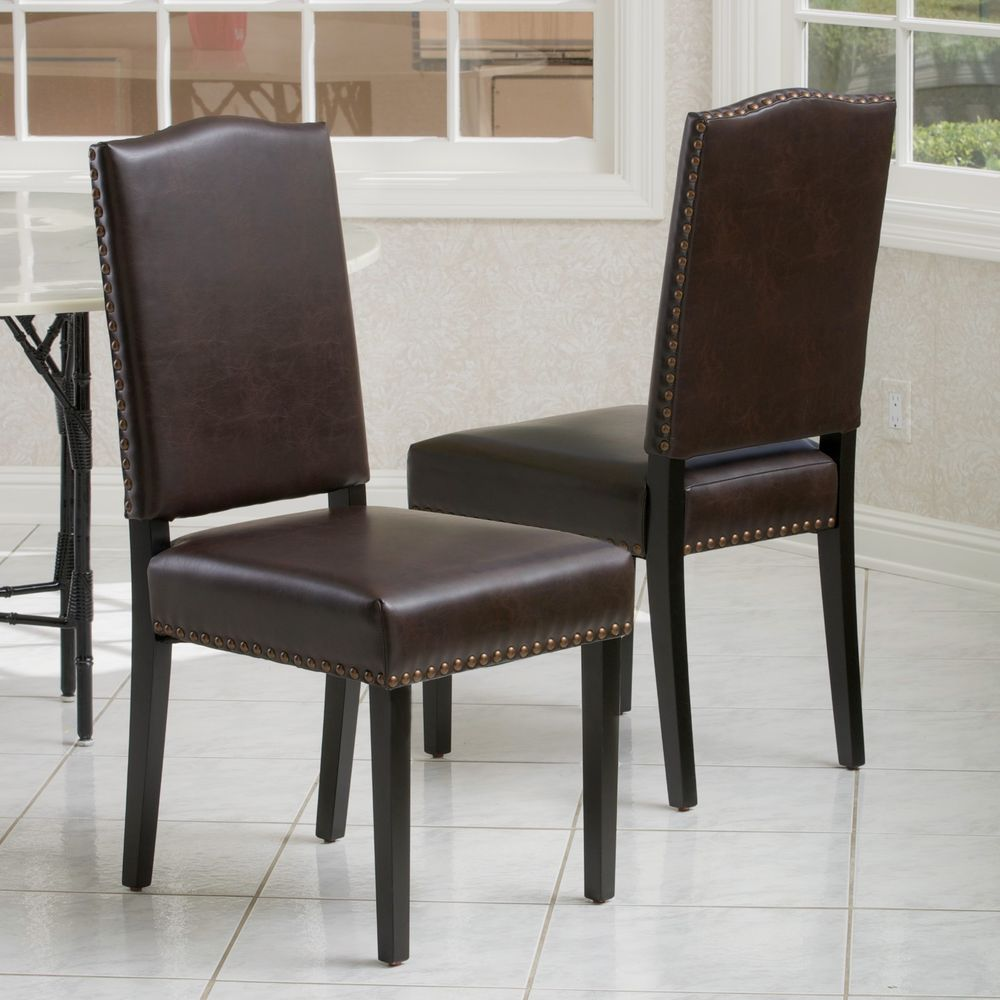 Image of: Brown Leather Nailhead Dining Chair
