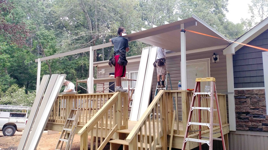 Image of: Build Aluminum Awnings for Decks