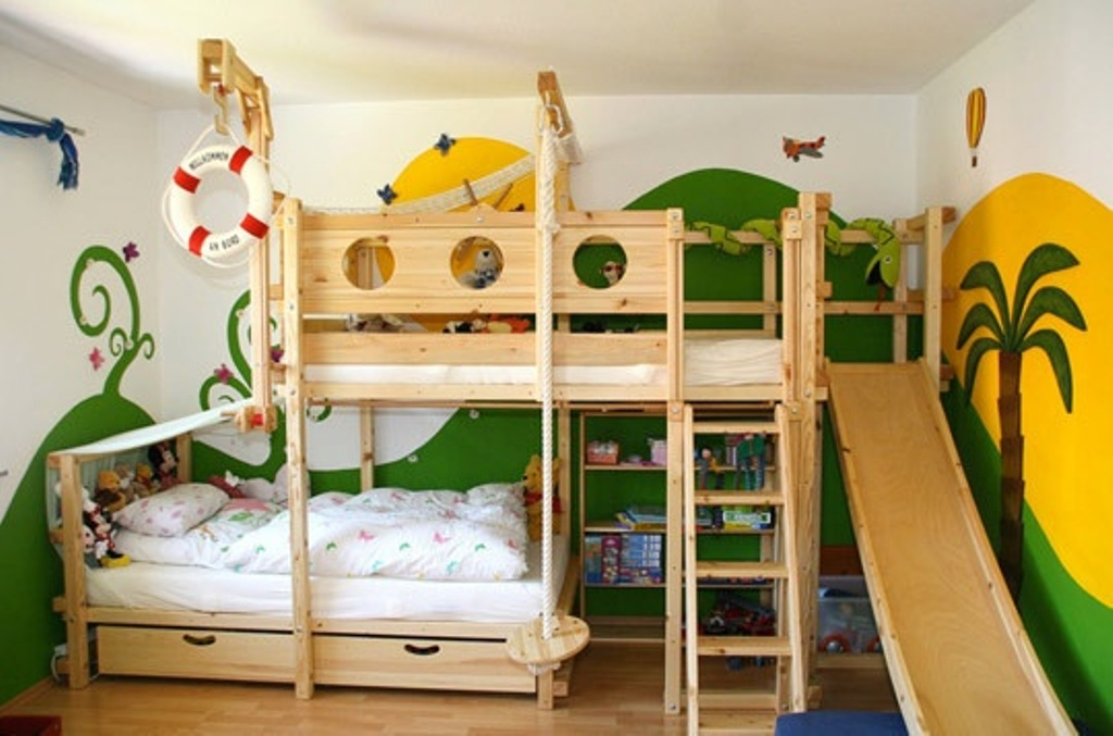 Image of: Bunk Beds With Slide And Storage