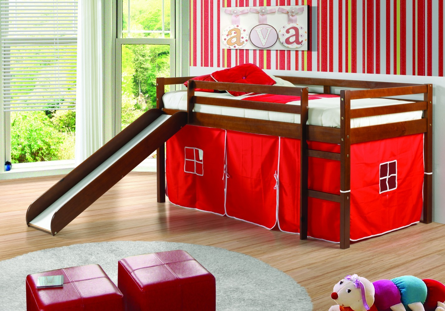 Image of: Bunk Beds With Slide And Tent