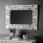 Carved White Wall Mirror
