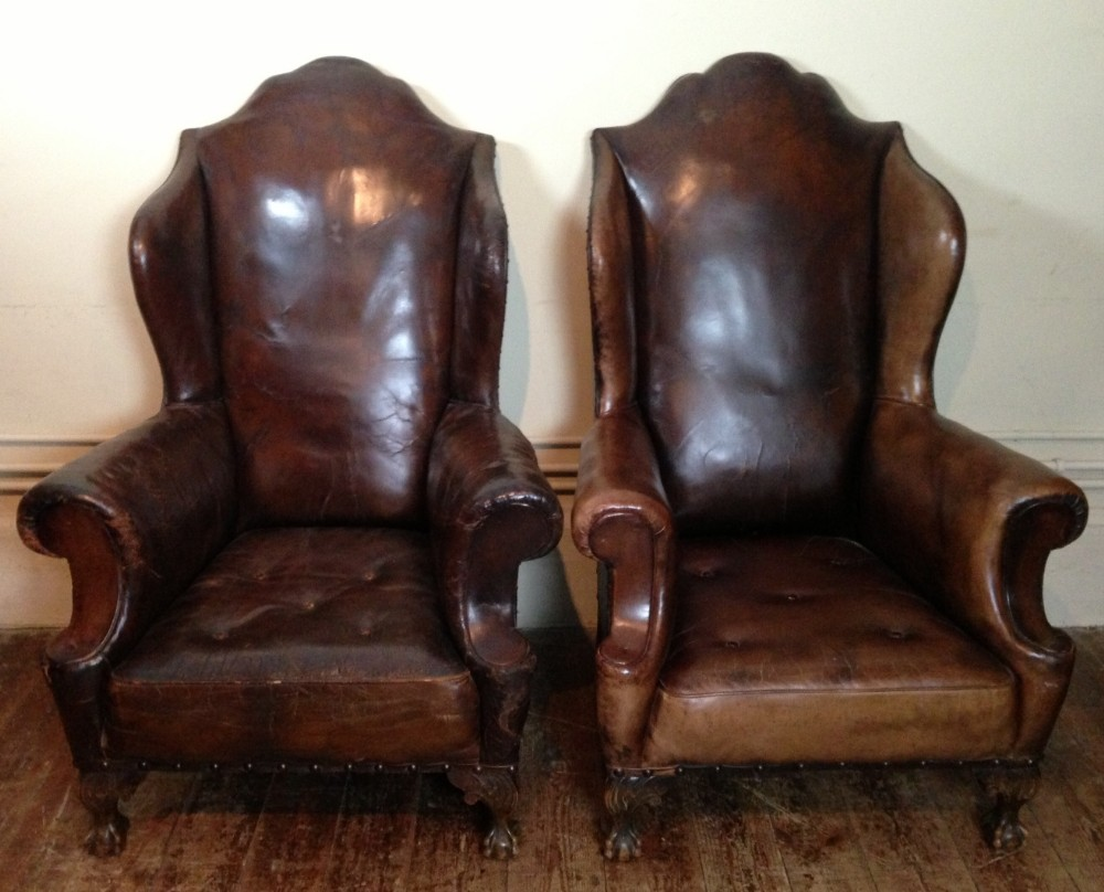 Image of: classic leather wingback chair