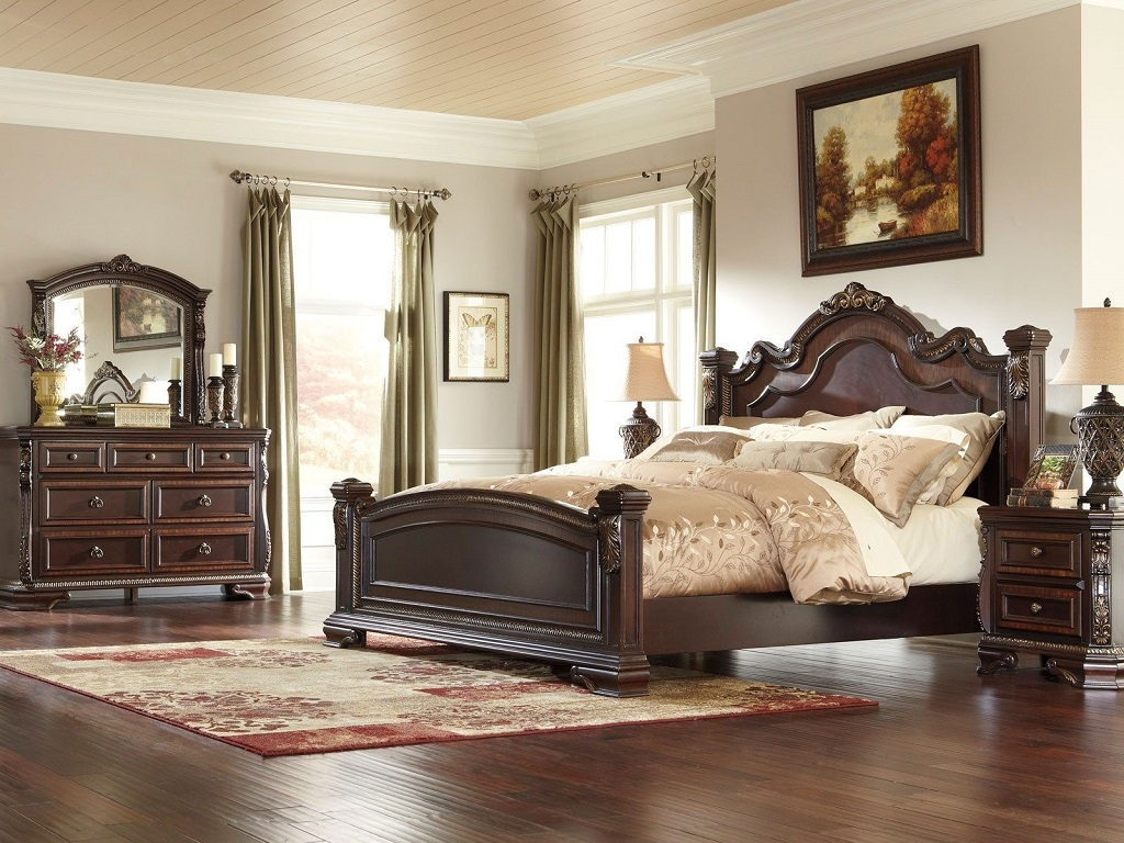 Image of: Coal Creek 4 Piece Mansion Bedroom Set In Dark Brown