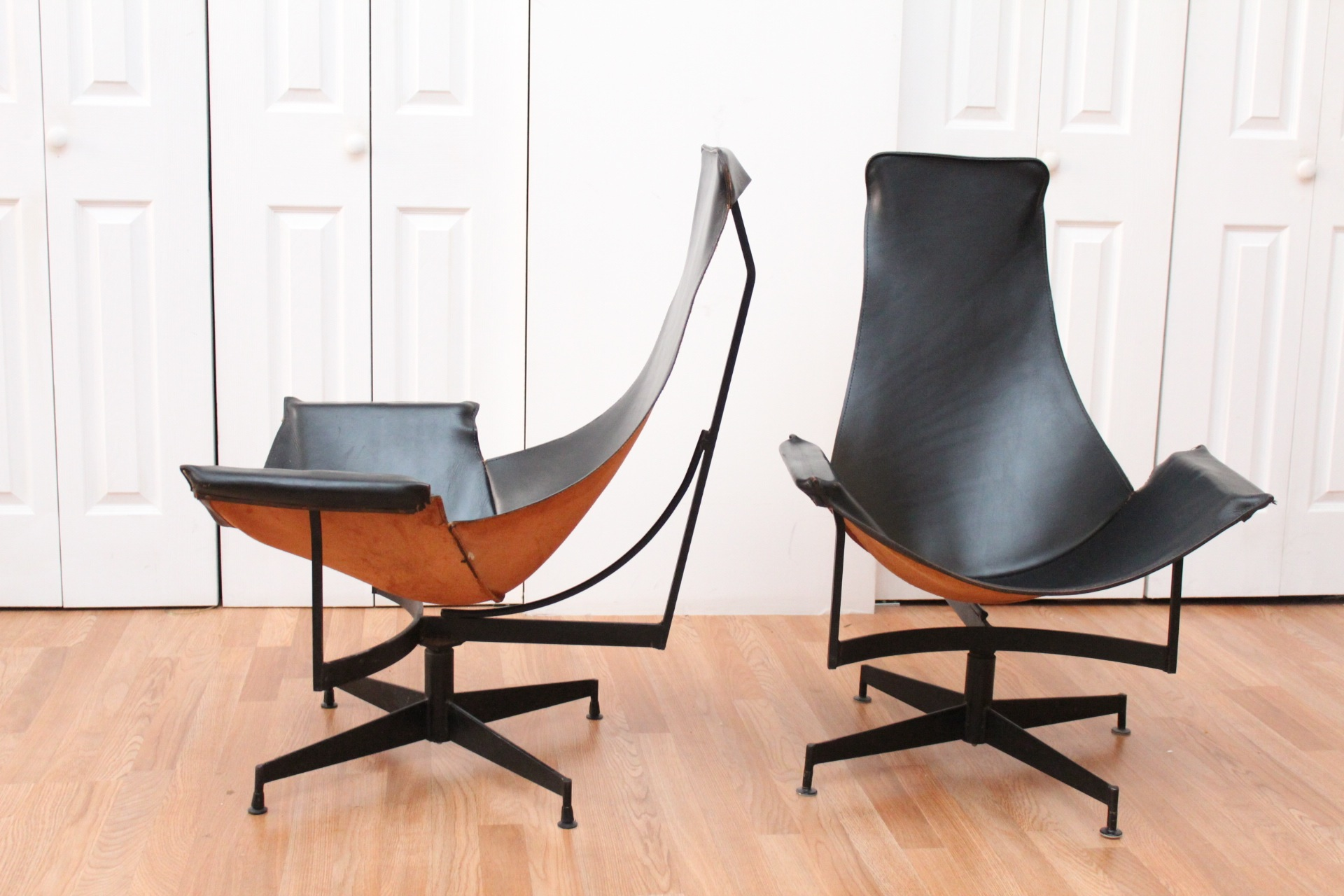 Image of: contemporary leather sling chair