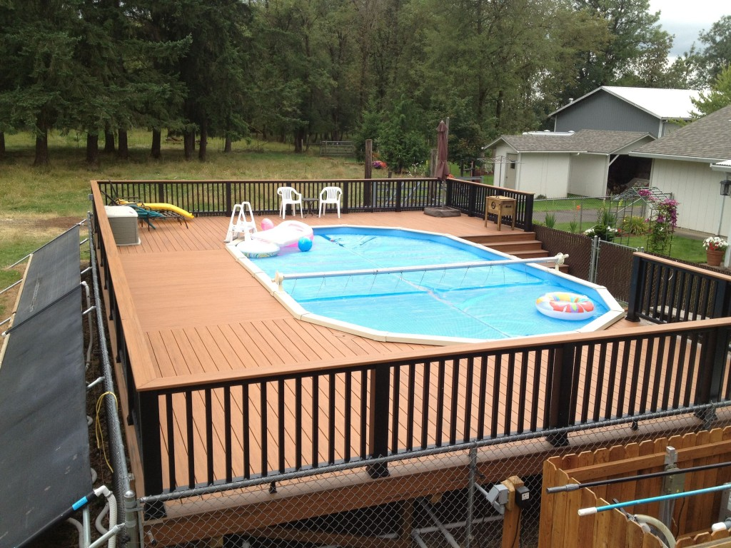 Image of: Cool Oval Pool Decks