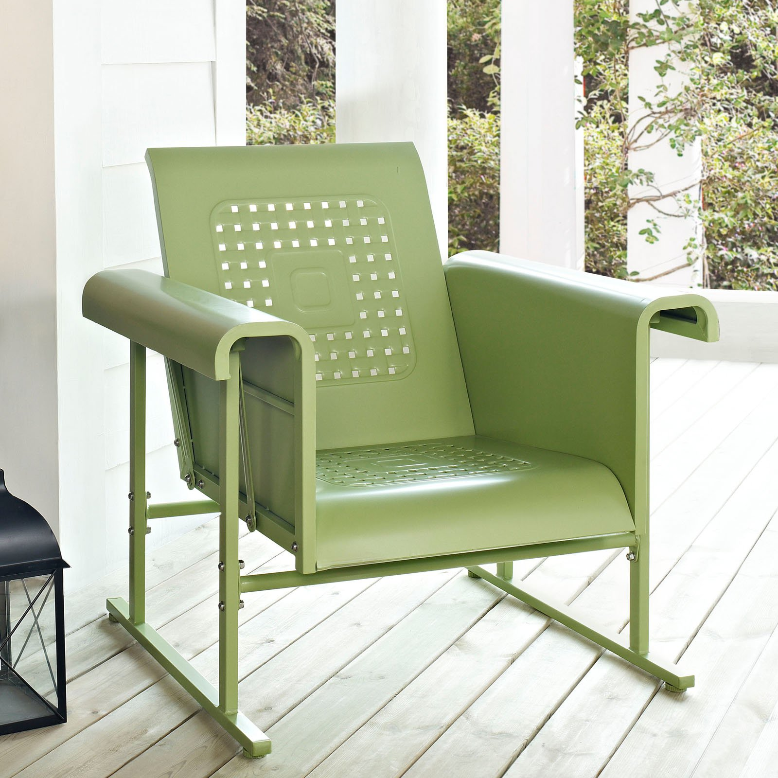 Image of: coral green outdoor glider chair