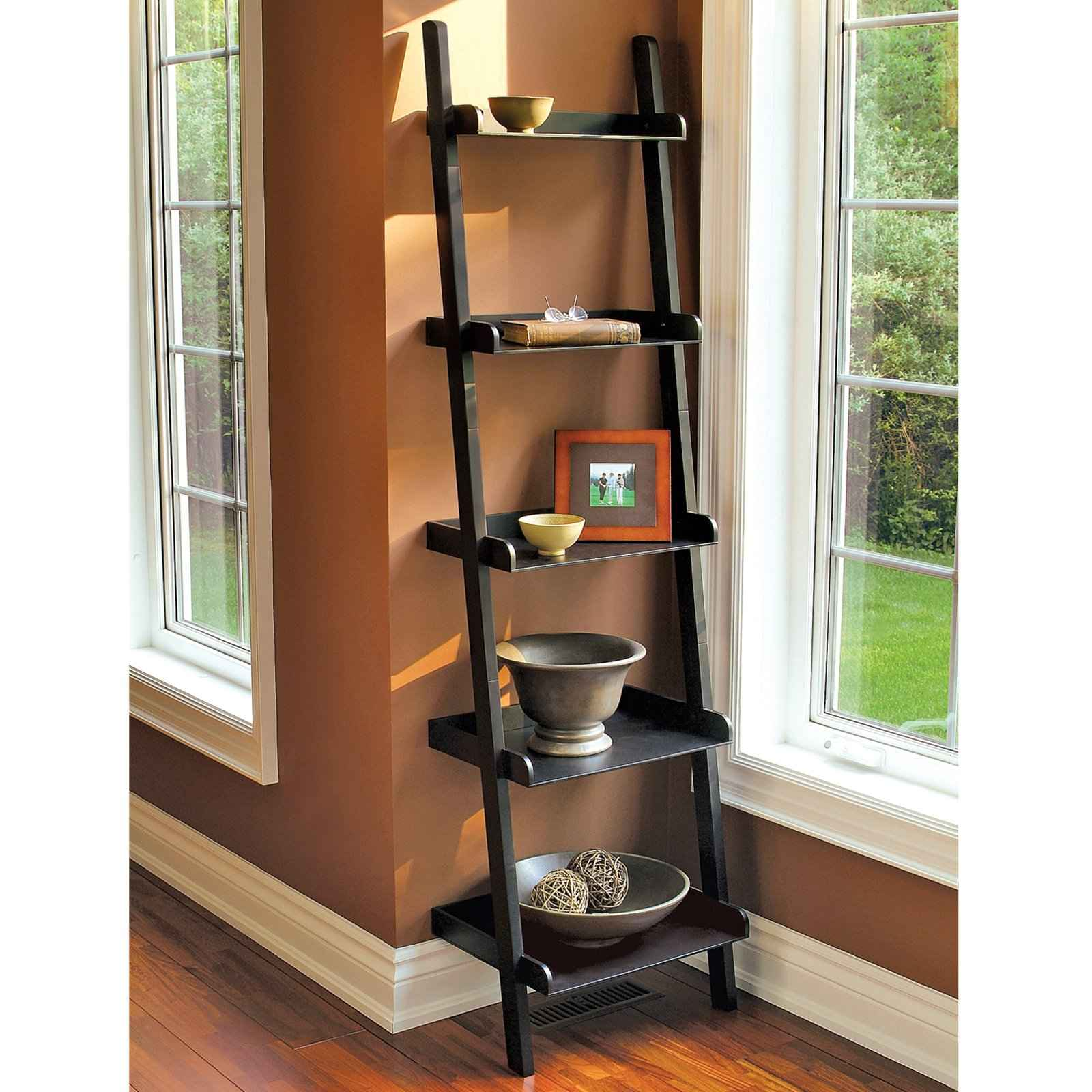 Image of: Corner Bookcase Ladder