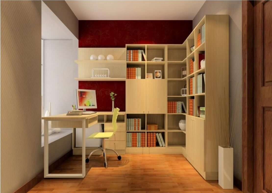 Image of: Corner Bookcase Library