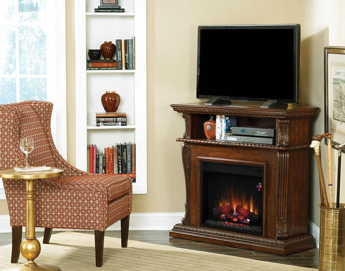 Image of: Corner Electric Fireplace Tv Stand Combo