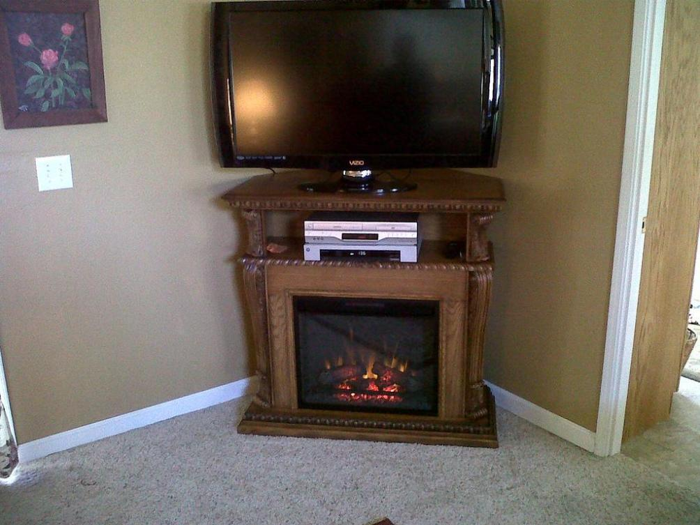 Image of: Corner Electric Fireplace Tv Stand Oak