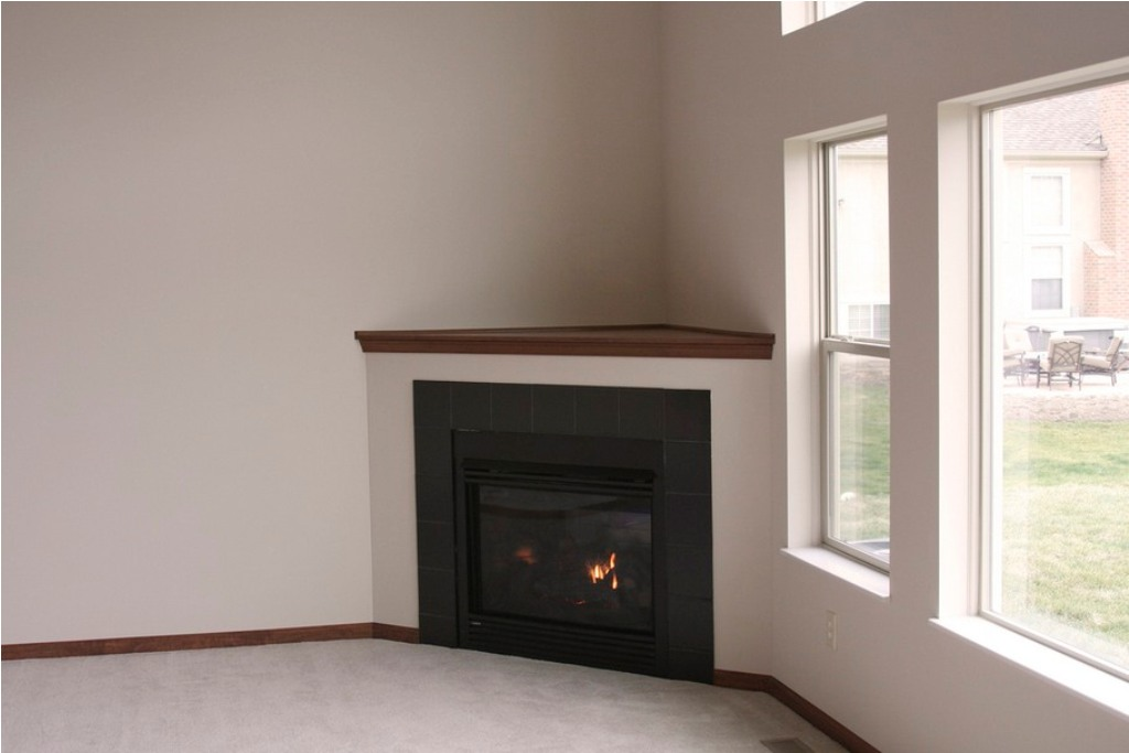 Image of: corner gas fireplace vented