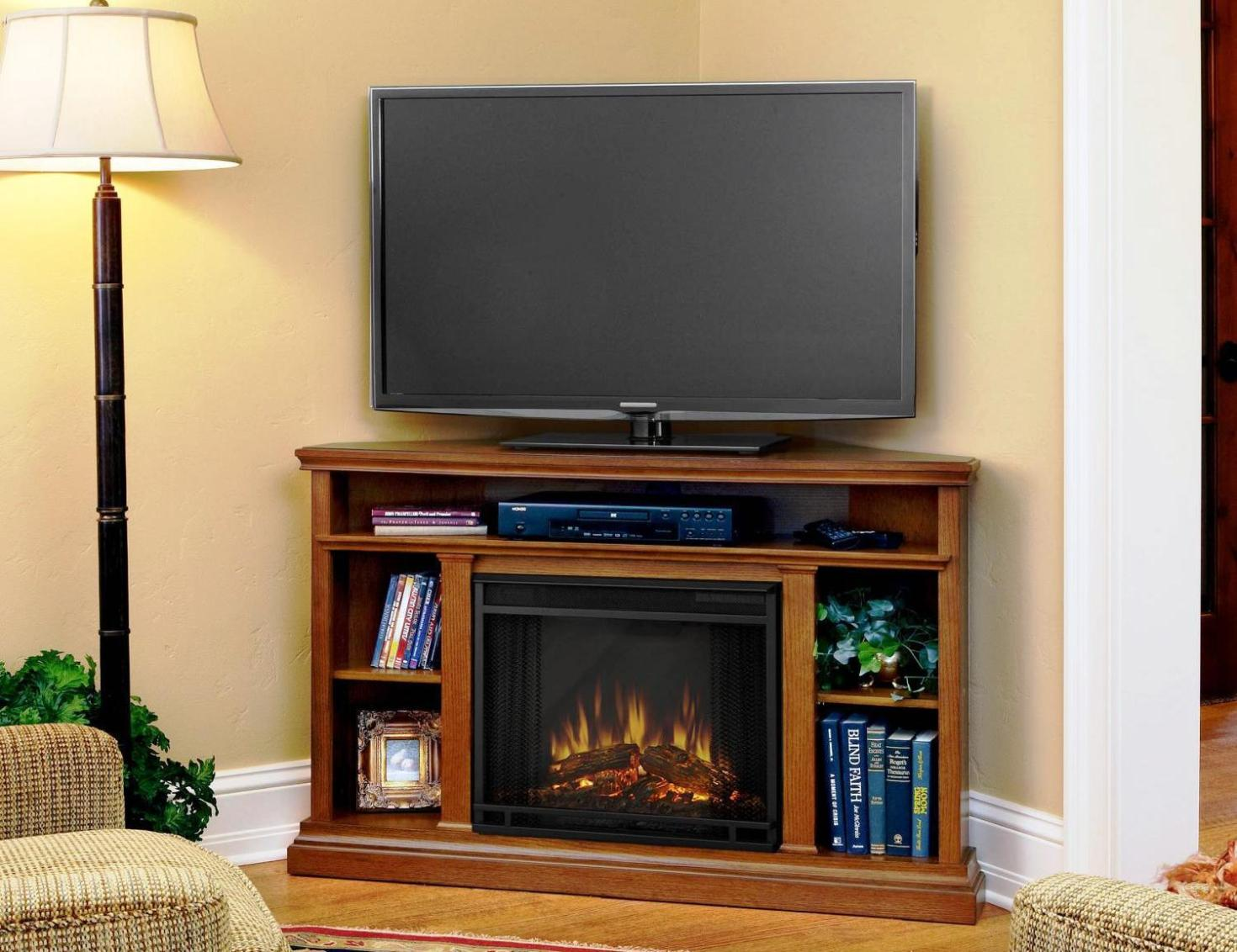 Image of: Corner Tv Stand With Electric Fireplace