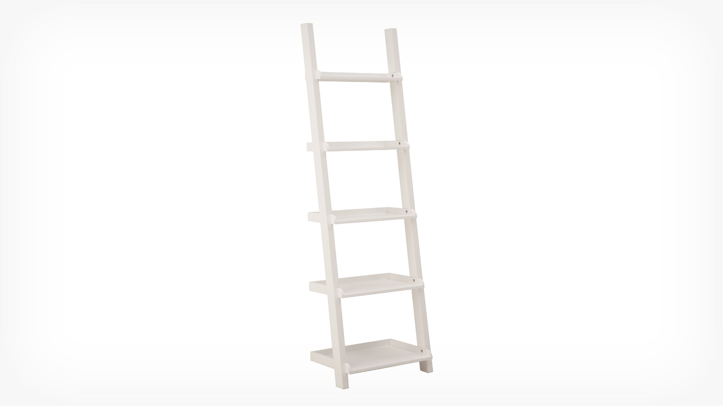 Image of: Corner White Ladder Bookcase