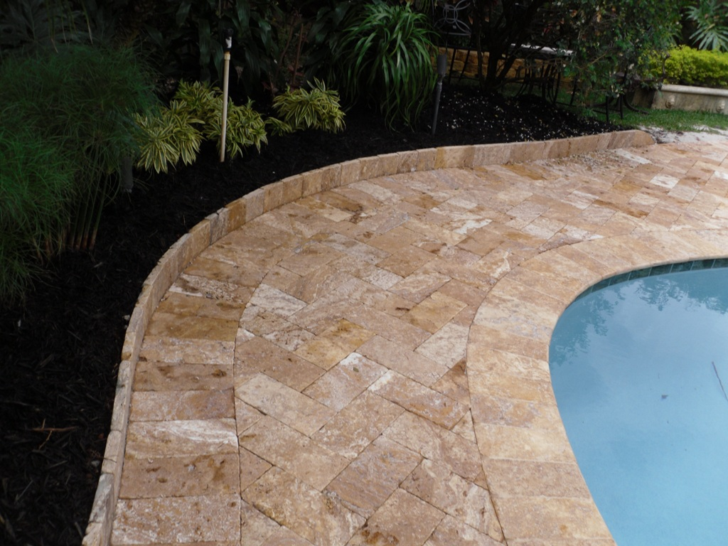 Image of: Cost of Travertine Pool Deck