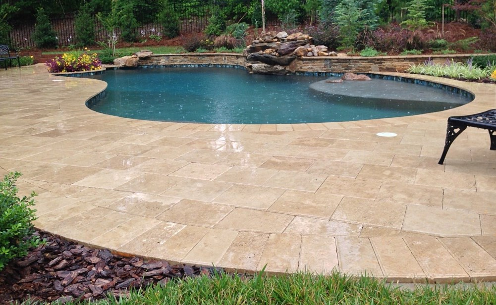 Country Classic Travertine Pool Deck