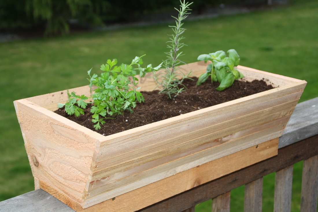 Image of: Deck Rail Planters for Herbs