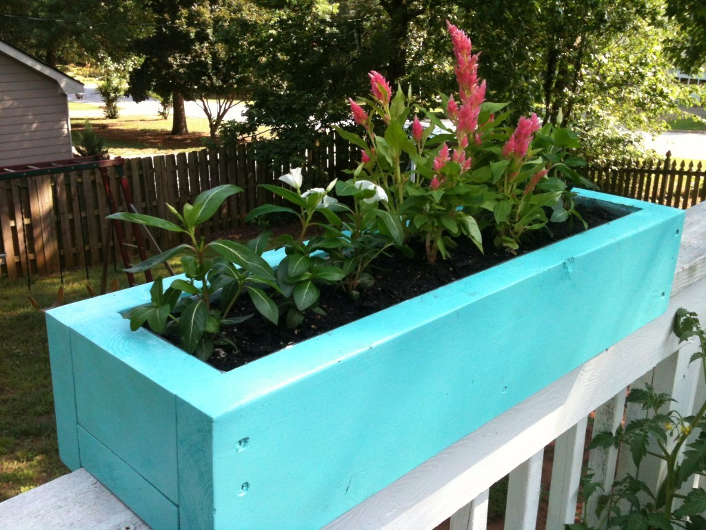 Image of: Deck Rail Planters with Trellis for Herbs