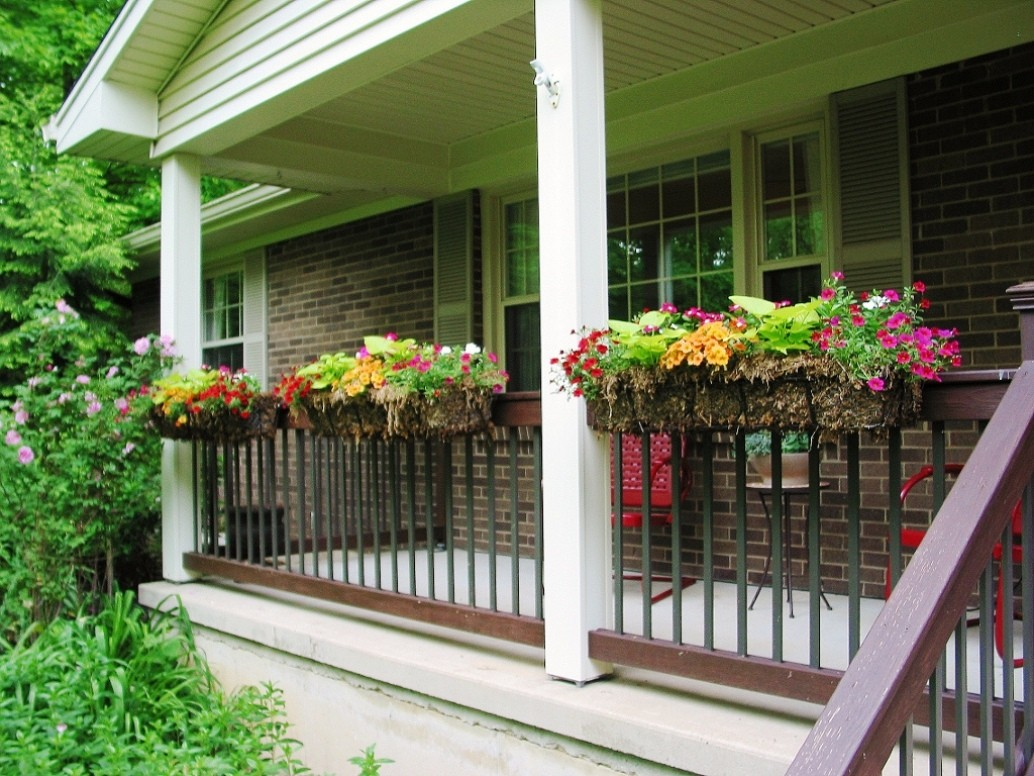 Image of: Deck Rail Planters with Trellis