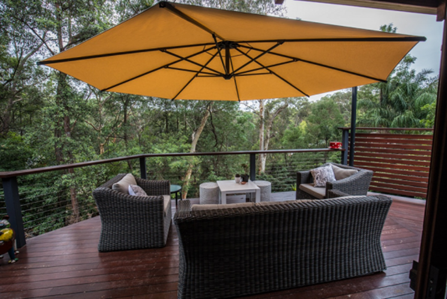 Image of: Deck Umbrella Mount Designs