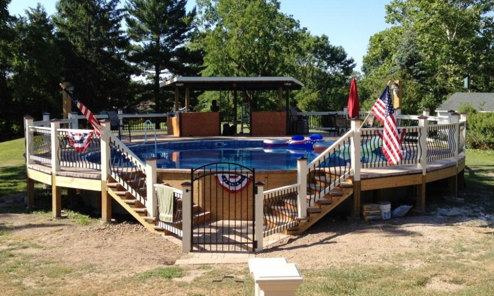 Image of: Decks for Above Ground Pools Round