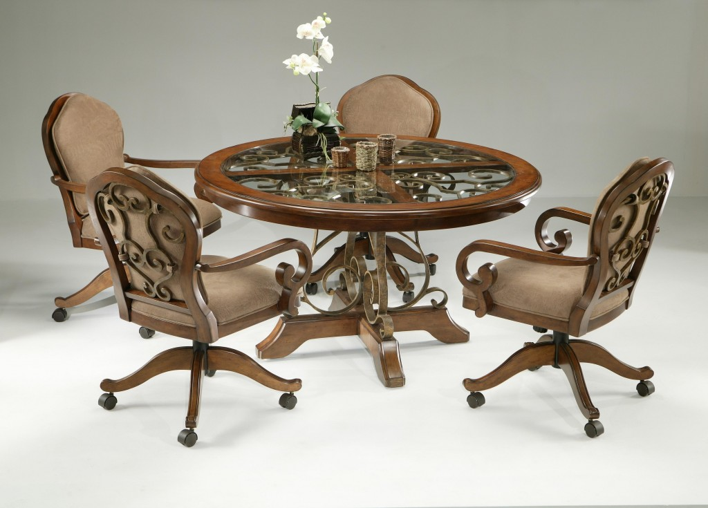 Image of: Dining Chairs with Casters Set of 4