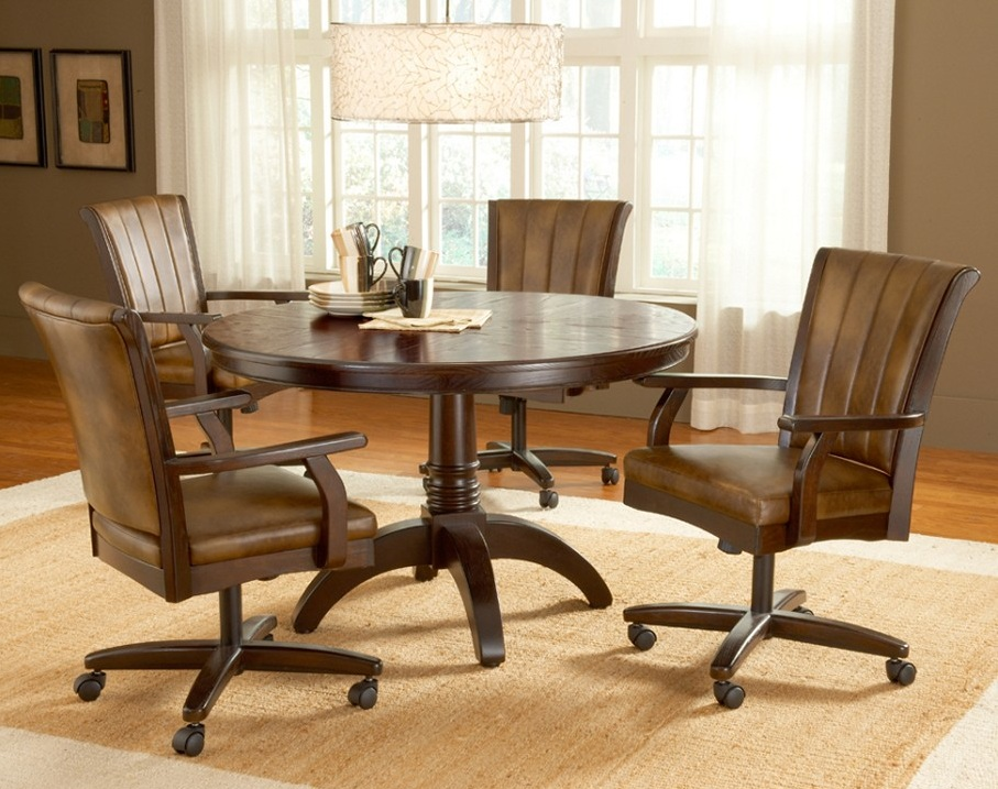 Image of: Dining Chairs with Casters Sets