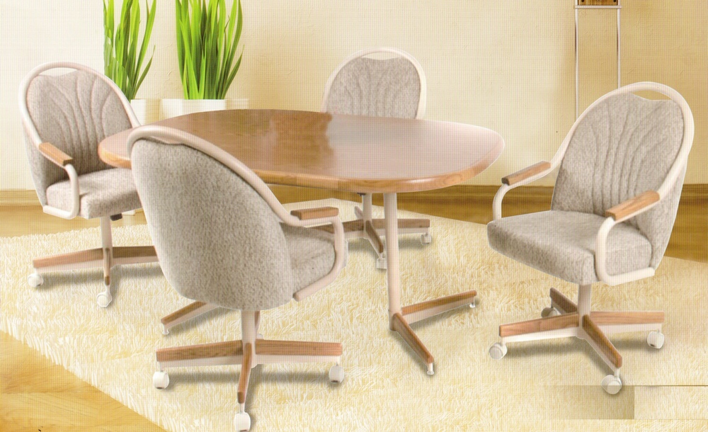 Image of: Dining Chairs with Casters Swivel