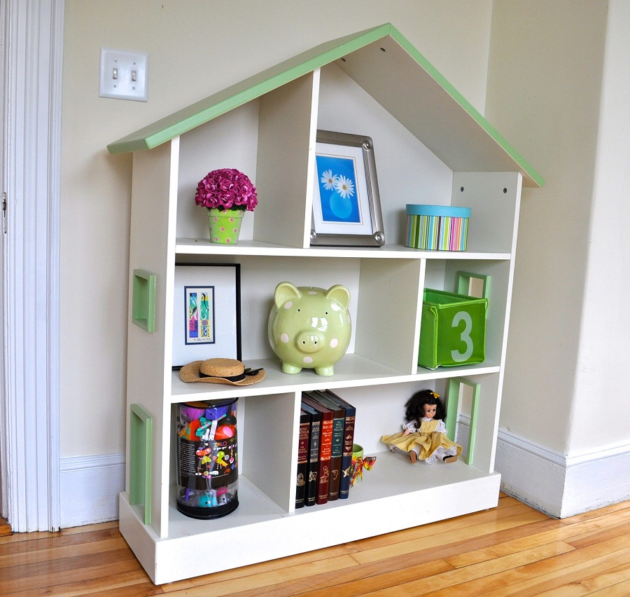 Image of: Dollhouse Bookcase Diy