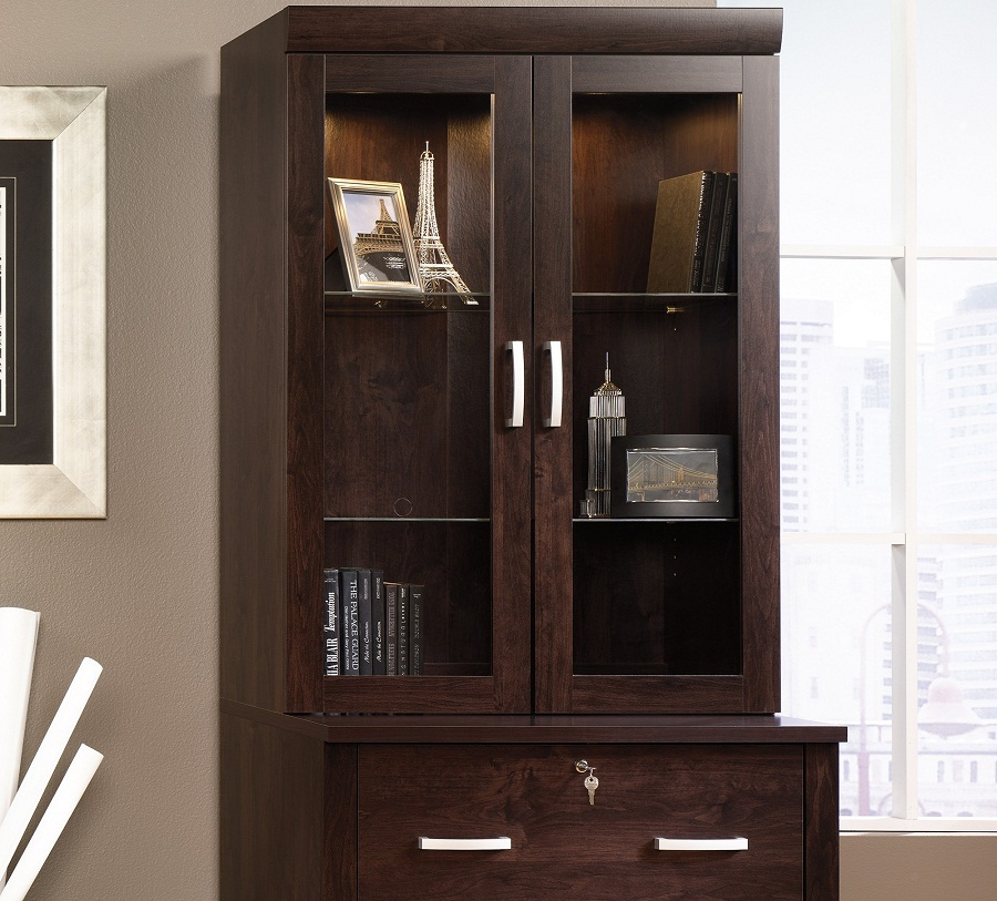 Image of: Door Glass Front Bookcase