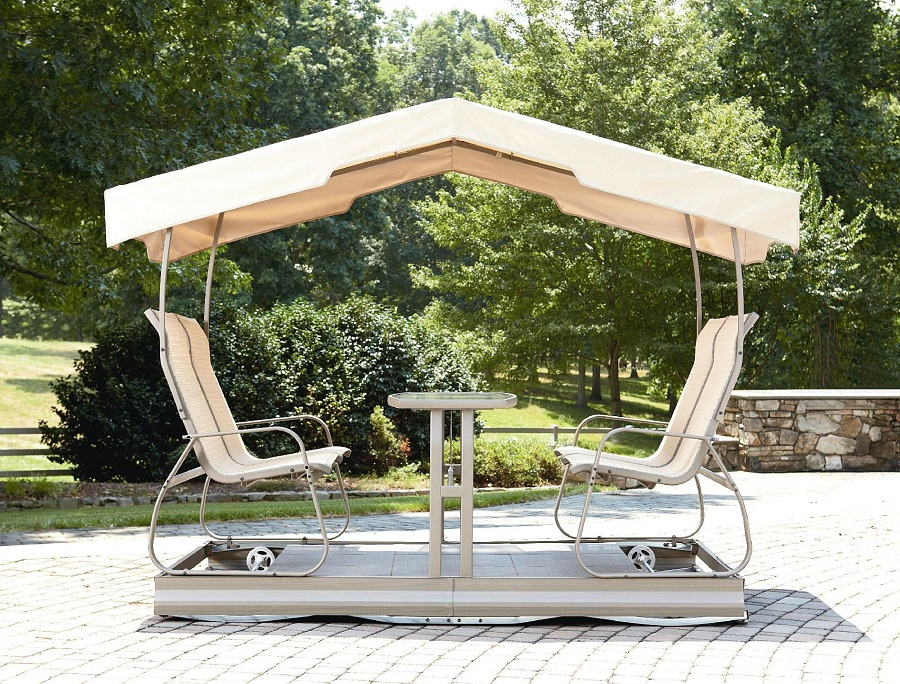 Image of: Double Outdoor Glider with Canopy
