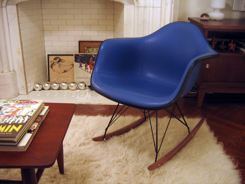 Image of: eames rocking chair blue