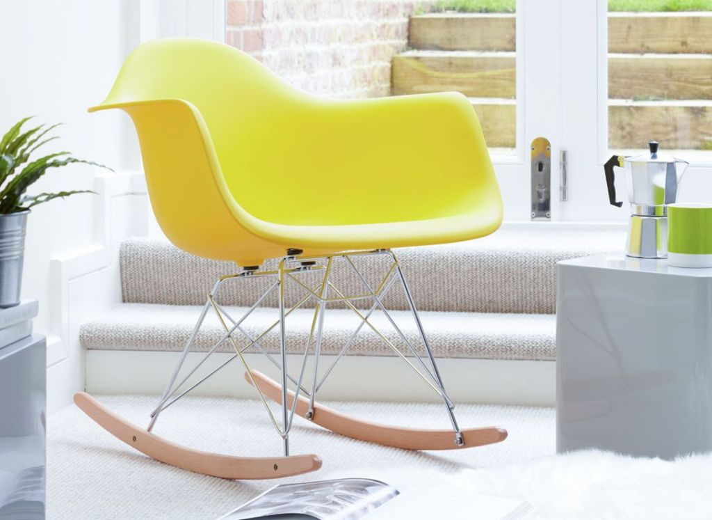Image of: eames rocking chair yellow