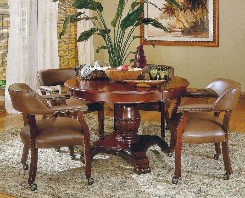 Image of: Elegant Dining Chairs with Casters