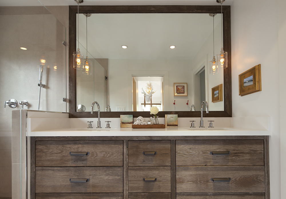 Elegant Reclaimed Wood Bathroom Mirror