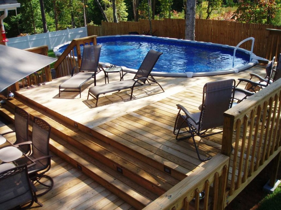 Image of: Famous Above Ground Swimming Pool Decks