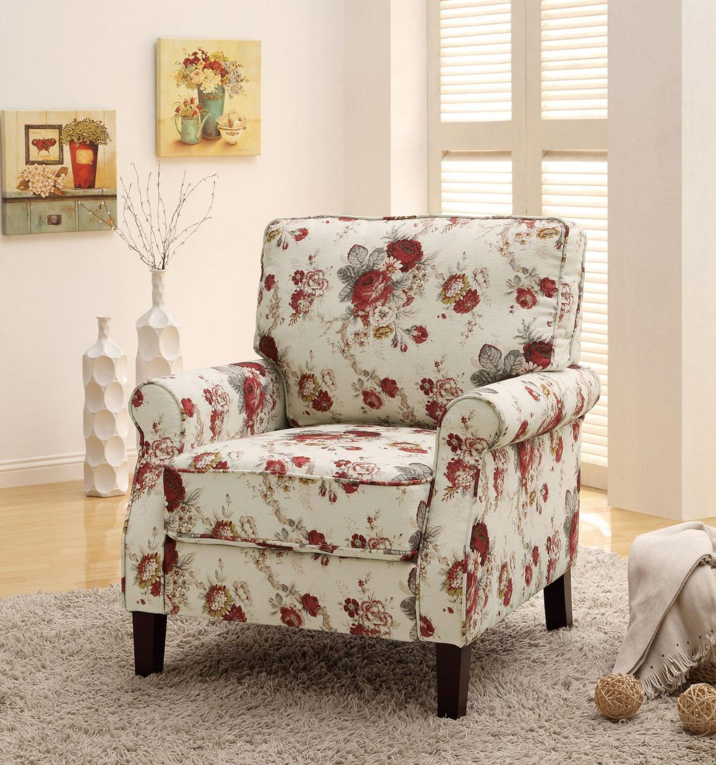 Image of: Floral Accent Chairs With Arms