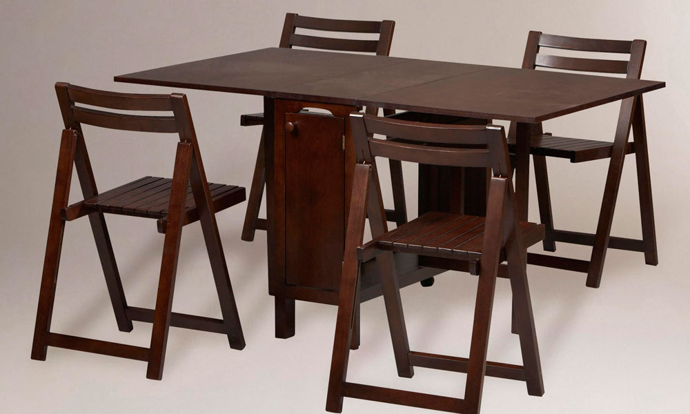 Image of: Folding Dining Table and Chairs Brown