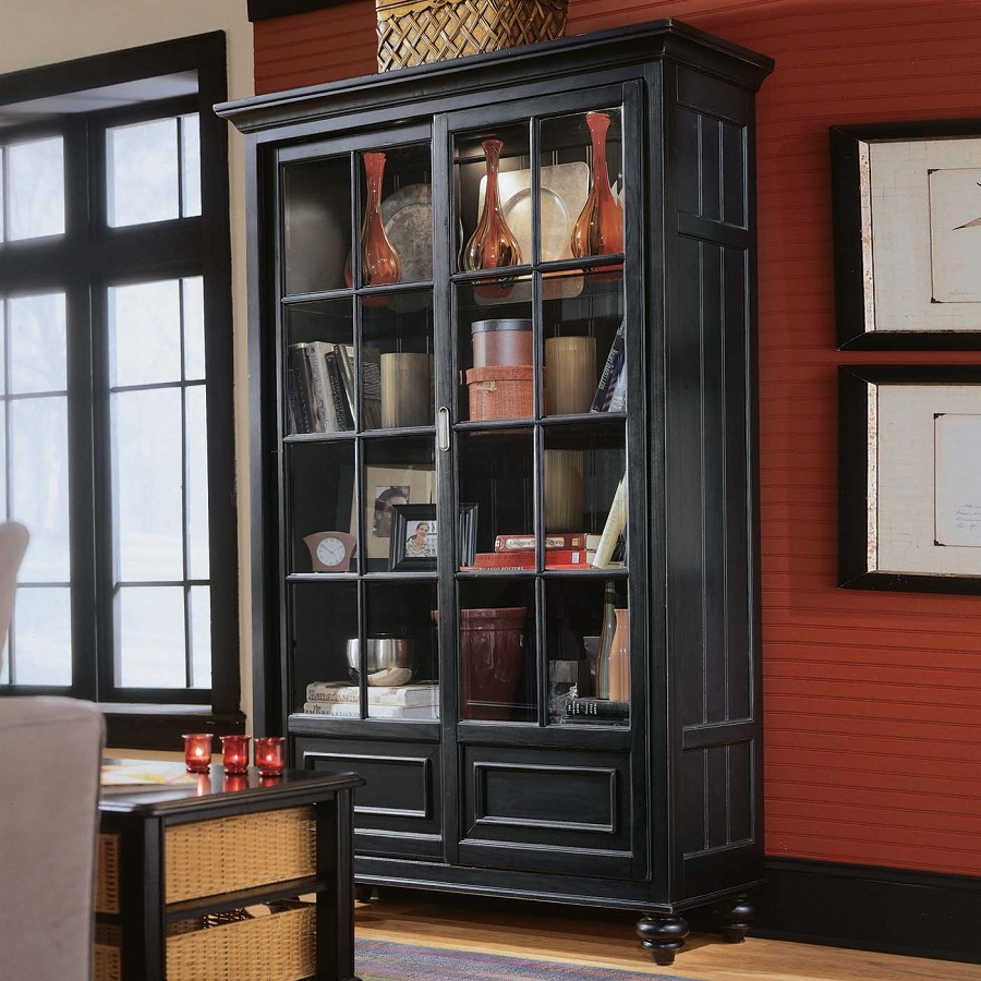Image of: Glass Front Bookcase Black