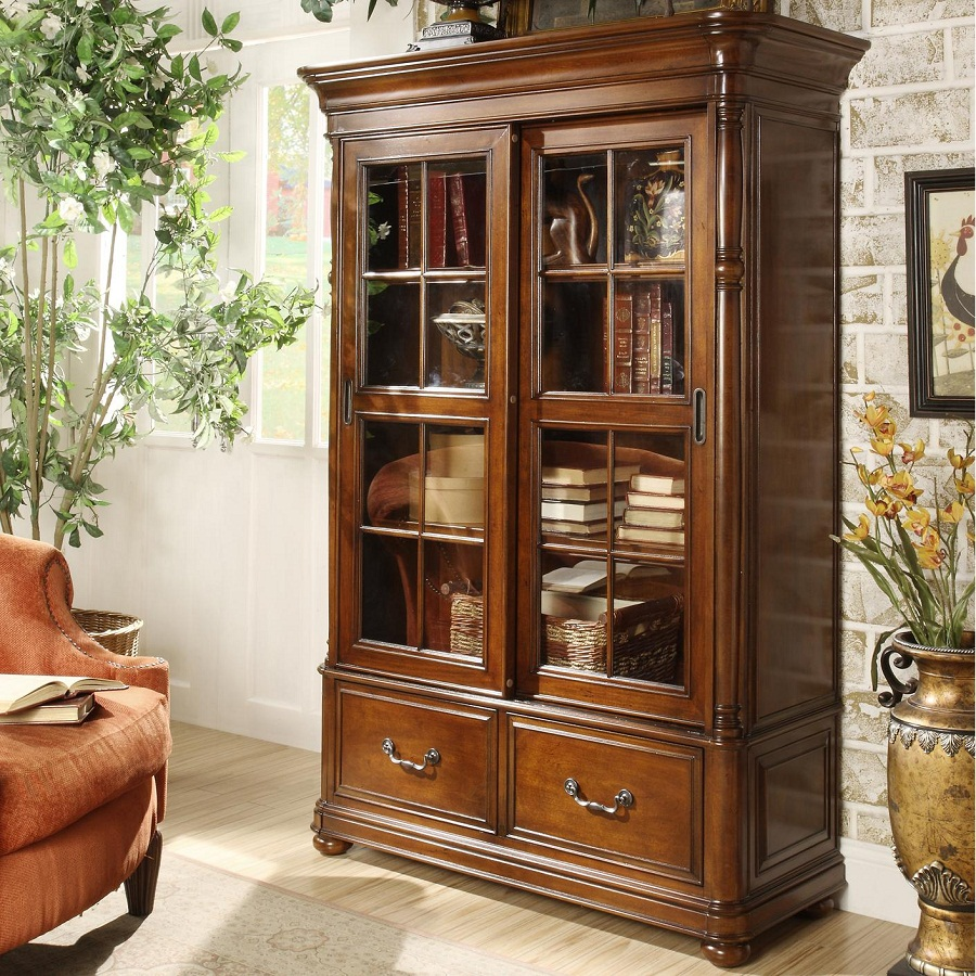 Image of: Glass Front Bookcase Designs