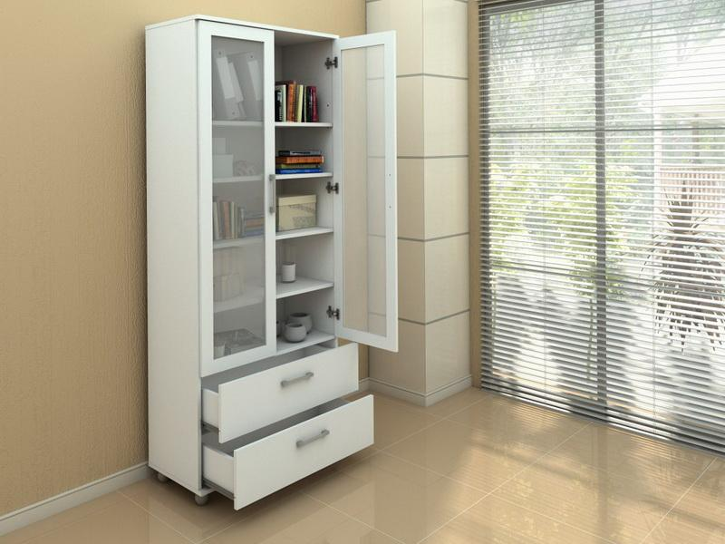 Image of: Glass Front Bookcase Office