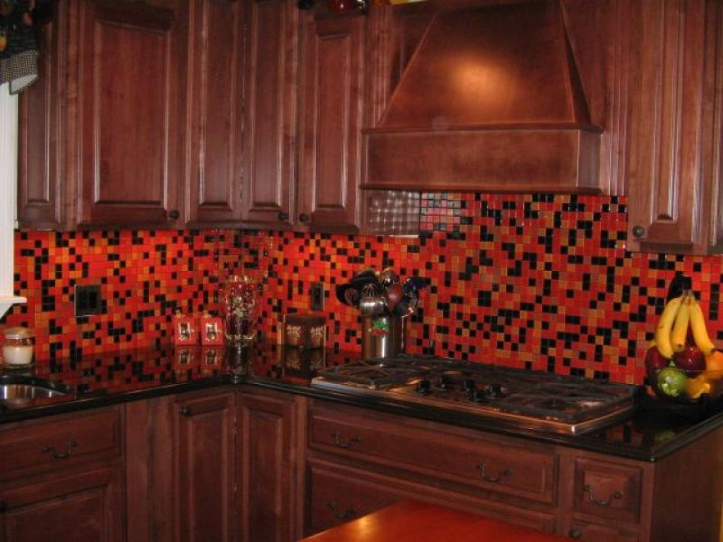 Image of: glass tile backsplash pictures colors