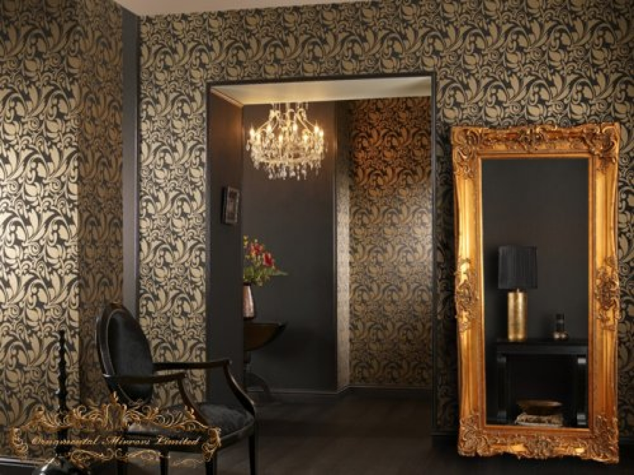 Image of: Gold Framed Wall Mirror Design