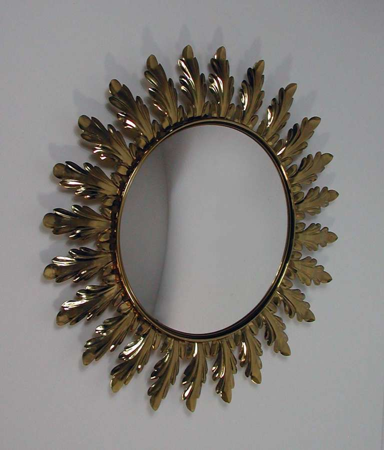 Image of: Gold Sunburst Wall Mirror