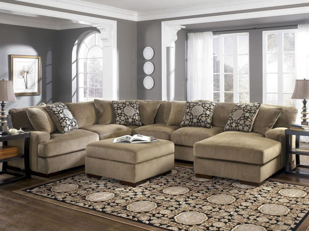 Image of: Gray Microfiber Sectional Couch