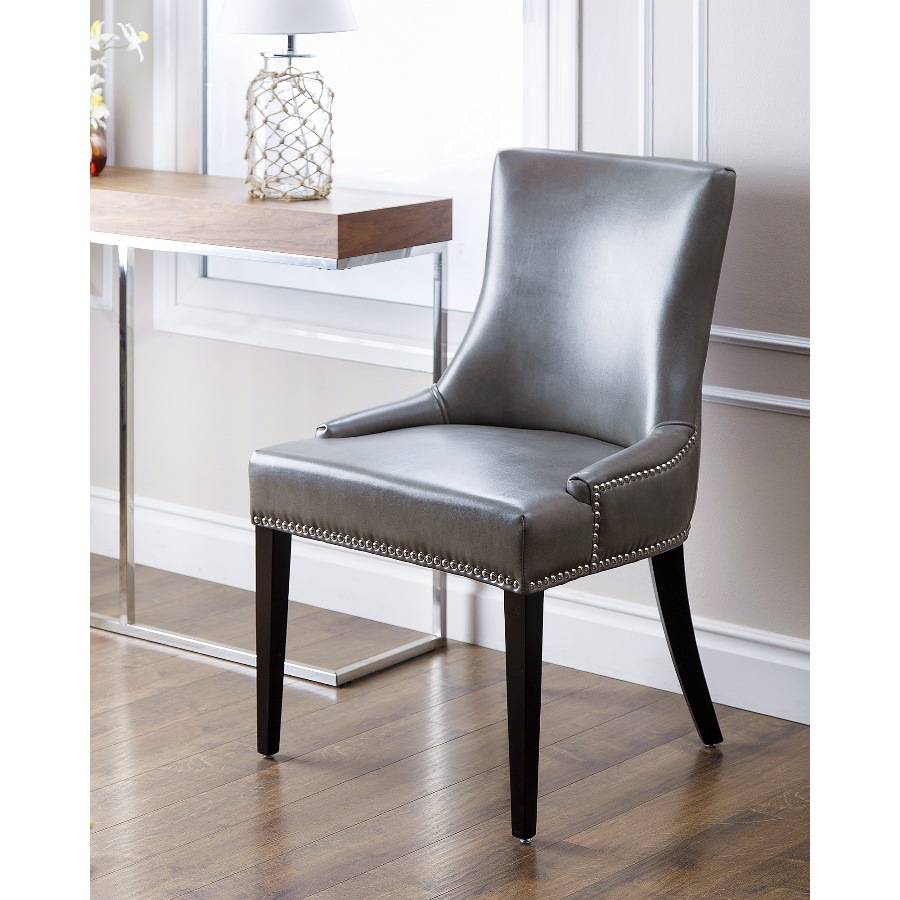 Image of: Gray Nailhead Dining Chair